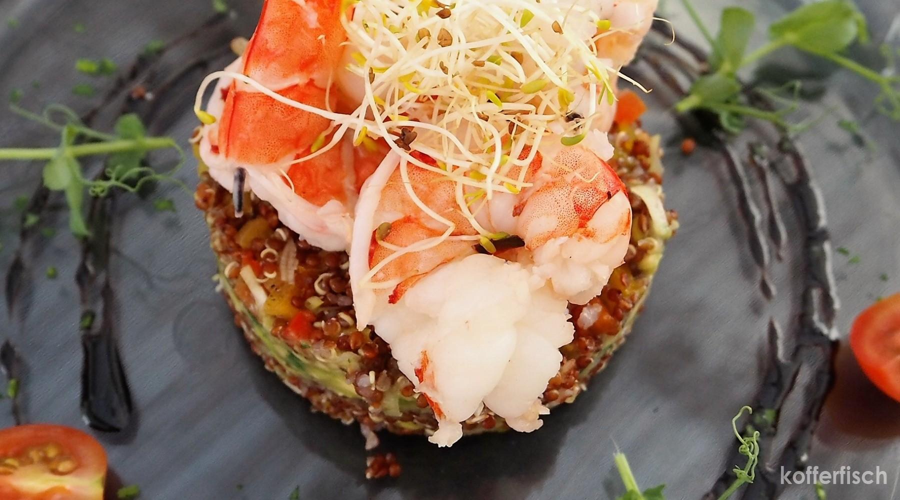 Quinoa Salat mit Gambas